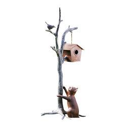 """SPI - Bird & House Garden Sculpture - -Size: 38.5"""" H x 20.5"""" W x 16"""" D"""