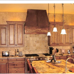 The Metal Peddler, Inc - Copper range hood -  Arts and Crafts by The Metal Peddler - Stunning copper range hood, custom built to client request. High quality copper with hammered trim, copper strapping and rivets, with rustic patina. Made in Pennsylvania.