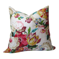 Waverly - Modern Floral Pillow Cover - Decorative pillow - Spring - blossom - flowers - Modern Floral Pillow Cover - a traditional pattern reinterpreted with a modern palette