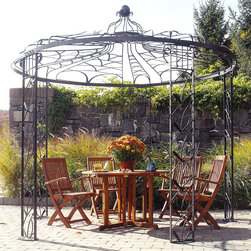 Adagio Pavilion - The Adagio pavilion is a beautiful structure designed to be the focal point of your garden. The spacious inside provides ample room for elegant dining and relaxation while the graphite powder-coating provides extra strength against the elements.