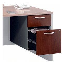 Bush Business - 3/4 Pedestal File Cabinet - Series C - The 3/4 Pedestal File Cabinet provides one box and one file drawer for storage needs, and mounts to either side of our popular Bow Front Desk.  The cabinet includes fully finished drawer interiors and a single lock to secure both drawers. * Mounts to left or right side of Bow Front Desk, Desk 72 in. and Desk 66 in.. One box and one file drawer for storage needs. File drawer has full-extension ball bearing slides and accepts letter or legal-size files. One lock on file drawer secures both drawers for work place privacy. Fully finished drawer interiors. Hansen Cherry finish. 15.512 in. W x 20.276 in. D x 20 in. H