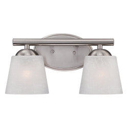 Quoizel - Stowe Brushed Nickel Two Light Bath Fixtures - - Cord Length: 6 Inches  - Glass/Shade: Cream Linen Glass Shade Quoizel - STE8602BN
