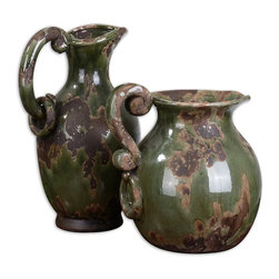 Uttermost - Hani Forest Green Pitchers, Set of 2 - This set of pitchers look as though they've been through the wars, but in a good way. Punic, perhaps? Realistically distressed with deep green and aged black finishes, they can do more than add to your decor. Use them to serve water, wine or your favorite beverage.