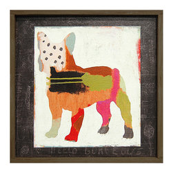 Kathy Kuo Home - French Bulldog 'Frenchie' Hand Painted Vintage Wood Wall Art - Small - Primitive folk art meets abstract expressionism in this sweet print. A charming bulldog is constructed of lines, dots and colorful swooshes and swatches. Bring it home for the dog lover — or art lover — in your life.