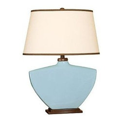 Mario Industries Splash Ceramic Table Lamp - 26H in. - Sky - Sea or sky, the natural beauty of the Mario Industries Splash Ceramic Table Lamp - 26H in. - Sky gives any space a calm, classic appeal. The Brussels cream linen shade perfectly complements the urn-shaped sky ceramic base.