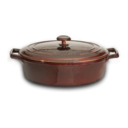 Berghoff - Berghoff Neo Cast Iron Covered Oval Casserole 3.4 qt. - Cast iron has great heat retaining abilities and can be used on any heat source. Classic in a modern design, solid material for all your cooking needs!