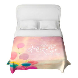DiaNoche Designs - Make Your Dreams Come True Duvet Cover - Lightweight and super soft brushed twill duvet cover sizes twin, queen, king. Cotton poly blend. Ties in each corner to secure insert. Blanket insert or comforter slides comfortably into Duvet cover with zipper closure to hold blanket inside. Blanket not Included. Dye Sublimation printing adheres the ink to the material for long life and durability. Printed top, khaki colored bottom. Machine washable. Product may vary slightly from image.
