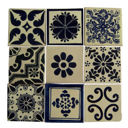 "Casa Daya - 9 Hand Painted Made to Order Talavera Tile Set - Set of nine 4"" x 4"" tiles for your craft or construction project. You will receive the nine tile set as shown in the photo."