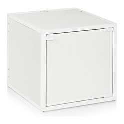 Way Basics - Box Storage Cube, White - Want to add some flexibility into your life? These stackable, connectable storage cubes will help organize your space in almost any configuration you can dream up. Easy, tool-free assembly allows you to try out different arrangements and then change your mind at a whim. Made from recycled paper, the cubes are non-toxic and lightweight, yet super strong. Doors and wheels are available separately.