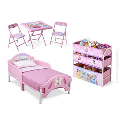 Disney Princess Room Bed and Multi-Bin Organizer and Table Chair set