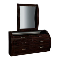 Global Furniture - Global Furniture USA Madison 6-Drawer Dresser with Mirror in Black and Kokuten - The Madison Bedroom collection is in a category all its own. This grand collection has contrasting wood grains trimmed with a black finish in high gloss that is accentuated by each curve. This collection will bring a sense of sophistication to any bedroom while providing ample storage.