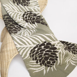 """In2green PineCone Artichoke Knit Throw - This natured inspired Pinecone deigned throw is knit with a blend of recycled cotton yarn and manufactured in the USA. The size is 50""""x 60"""" and the best part is that its machine wash & dry."""