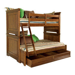Lea Industries - Lea Elite Classics Twin over Full Bunk Bed in Brown Cherry - Welcome to the Lea Elite collections, Classics. A clean, traditional group with Louis Phillipe design influences such as heavy moldings and bases with broad plasters. Tops and door panels on case pieces are accentuated with black marquetry style inlays. The finish is a medium brown cherry color. The custom designed hardware knobs are in a soft silver with gold color overtones. The design of this collection lends itself to fit into any bedroom setting: Boys, girls, 2nd bedroom or even smaller master bedrooms. Classics is a versatile group that offers a lasting style that works in multiple settings depending on bedding and accessories.