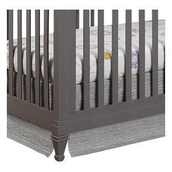 "Liz and Roo - Gray Driftwood Crib Skirt - Beautiful driftwood pattern crib skirt, shown with fun emma crib sheet. Fits standard 52"" x 28"" crib mattress, 17"" drop."