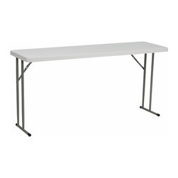 Flash Furniture - Flash Furniture 18 x 60 Granite White Plastic Folding Training Table - Convenient commercial grade training table that is designed to withstand the test of time! Flash Furniture's 18''W x 60''L Folding table features a durable stain resistant blow molded top  and sturdy frame. This lightweight 5 ft. table locks in place in a SNAP with the leg locking system for easy set-ups. The space saving design can allow multiple tables in a small to large setting making it the perfect training style table for the classroom or any training facility. Not only does this table make a great training table, but can be used in banquet halls or for everyday use in the school. [RB-1860-GG]