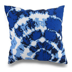 Manual - Indoor/Outdoor Blue and White Tie-Dye Print Throw Pillow 18 in. - Beautifully accent your home inside or out in groovy style with this vivid blue and white tie dye throw pillow that's perfect for your living room sofa, the Adirondack chair on the patio or the chaise lounge in your garden oasis. The 100% polyester cover is water repellent and is filled with 100% polyester fiber. Measuring 18 inches high by 18 inches long (46 cm by 46 cm), it would look amazing by a pool area, in the guest room or just tossed on the bed, and is recommended to dry clean or spot clean only. This bright and cheerful throw pillow would make an excellent housewarming gift for any tie dye fans