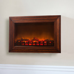 Fire Sense - Fire Sense MDF Wall Mounted Electric Fireplace - Add sophisticated ambiance to any room with our MDF Wall Mounted Electric Fireplace. This unit extends a mere six inches from any wall. The natural stained wood frame surrounds a wide realistic flame. The tempered front glass provides an astonishing reflective surface from which the fire comes alive. Adding even more romance to this perfect setting is the glowing ember bed. Included in this unit is a fully functional 1400 watt multiple setting electric heater. Comes with full function remote control.