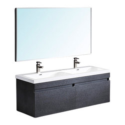 Fresca - Largo Double Sink Bathroom Vanity w Mirror (Bevera Chrome) - Choose Included Faucet: Bevera ChromeSingle Hole Faucet Mount (Faucet Shown In Picture May No Longer Be Available So Please Check Compatible Faucet List). Soft Closing Drawers. P-traps, Faucets, Pop-Up Drains and Installation Hardware Included. With overflow. Sink Color: White. Finish: Black. Sink Dimensions: 25.75 in. x13 in. x3.75 in. . Mirror: 56.75 in. W x 31.5 in. H. Materials: MDF with Acrylic Countertop/Sinks with Overflow. Vanity: 56.63 in. W x 20 in. D x 21.63 in. HStriking in its simplicity, this double sink vanity offers modern sophistication to your bathroom. It also features uniquely designed chrome faucets and special pull out drawers. Its large sink has a unique wavy bottom for splash of fun.