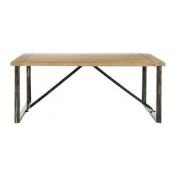 Safavieh - Morton Coffee Table - A study in contrasts, the Morton Coffee Table is an elegant pairing of natural fir wood with a reclaimed look, and the clean, straight forged iron lines of the new industrial style. Perfect for mountain lodge or urban loft, Morton is designed for relaxed, casual living.
