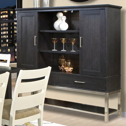 Howard Miller Dining Cabinet, Black Crystal - Perfect for storing your china set, the Howard Miller Dining Cabinet - Black Crystal also has plenty of space to display your favorite items. It has two sliding doors, so you can leave either the outside or the inside shelves open for display. The middle shelves are adjustable, and are glass with wood frames. The outer shelves are also adjustable; a touch light makes selecting the correct items easy, even in a dim room. Add this dining cabinet to a Howard Miller dining set and wall clock for a complete, designer dining room look. Additional Features: 2 adjustable glass shelves with wood frames Outside compartments: 2 adjustable shelves each One touch light for easy visibility The Howard Miller Story Incomparable workmanship, unsurpassed quality, and a quest for perfection - these were the cornerstones of the company Howard C. Miller founded back in 1926, at the age of 21. Even then, Howard Miller understood the need to create products that would be steeped in quality and value. In 1989, Howard Miller began creating collectors' cabinets with the same attention to detail and craftsmanship inherent in their clock-making. Fashioned from glass and hardwoods, Howard Miller cabinets are ideal for displaying heirlooms, plates, glassware, and other collectibles.