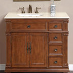 Silkroad Exclusive - Esther 36 in. Single Sink Bathroom Vanity Cab - Faucet not included. Transitional style. Pre-drilled for three-hole, 8-in. widespread faucet. Four drawers and two door storage with shelves. Undermount UPC certified white ceramic left side sink. Cream marfil marble stone counter top. Antique brass hardware finish. Big cutout back for plumbing installation. 30 days manufacturer limited warranty. Made from wood, CARB Ph2 certified plywood and MDF panels. Distressed vermont maple finish. No assembly required. 36 in. W x 22 in. D x 36 in. H (163 lbs.)This Victorian design single sink vanity has ample storage room. Bring uniqueness and functionality with this elegant single sink vanity to your bathroom.