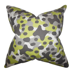 The Pillow Collection - Dabney Geometric Pillow Gray - Let this bright accent pillow bring an eclectic touch to your interiors. This throw pillow features a unique geometric pattern in shades of gray, green and white. Toss this playful accent piece to your sofa, bed or seat for extra comfort and style. Proudly made in the USA and crafted using 100% cotton fabric.