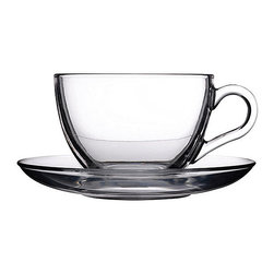 Hospitality Glass - 2.5H x 3.5T x 1.5B 8 oz Cup & Saucer 24 Ct - 8 oz Cup & Saucer