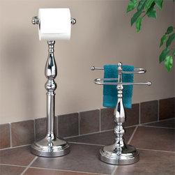 Ridgefield 2-Piece Bathroom Accessory Set - The Ridgefield Collection 2 Piece Bathroom Accessory Set features a standing tissue holder and a countertop towel holder. Add this set to your bathroom for an easy update that will coordinate with your decor for years to come.