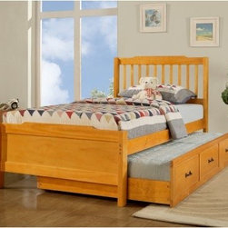 Albion Trundle Bed - Honey Pine - Simple, yet beautiful, the Albion Trundle Bed - Honey Pine adds both looks and versatility to your child's room. With the optional trundle, you can use this as either a single twin bed or two twin beds for the occasional sleepover.About Homelegance, Inc.Homelegance takes pride in offering only the highest quality home furnishings that incorporate innovative design at the best value. From dining sets to mirrors, sofas, and accessories, Homelegance strives to provide customers with a wide breadth and depth of selection as well as the most complete and satisfying service available for their category. Homelegance distribution centers are conveniently located throughout the United States and Canada.