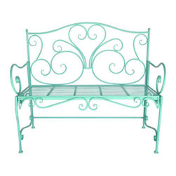 Urban Home Vintage Garden Bench in Teal - This beautiful 1950's replica bench will be the center of attention in any garden or entry. Please cover when not in use