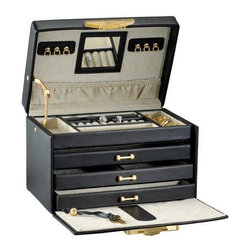 RaGar - Paris Weave 9.75 in. Jewelry Box - Three drawers and travel case. Accented with smooth leather trim. Made from genuine leather. Black color. 9.75 in. W x 6 in. D x 6 in. HThis lavish, Parisian beauty is a jewelry collector's dream. Versatile styling makes it a great choice for the jewelry collector in you.