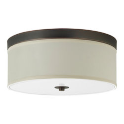 Linea di Liara - Occhio 15-Inch Two-Light Ceiling Light Lamp, Oil Rubbed Bronze - A clean, contemporary design allows the Occhio Collection to be used in a wide variety of environments from sleekly modern to warm transitional and even beyond. The collection is compatible with a number of bulb options, including incandescent (60W max), Compact Fluorescent and LED.