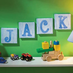 "Nursery Canvas Wall Art - These 5"" x 5"" letters are printed on real canvas, then stretched on wooden bars — each one like an individual work of art."