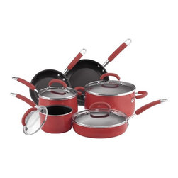 Rachael Ray - Porcelain Enamel 10-Piece Cookware Set - This cookware set is an exceptional value, including all of the pans needed to equip your kitchen with the most used cooking pieces. It includes saucepans for whisking a homemade sauce or cooking your morning oatmeal, a big stockpot for soups, stews or boiling pasta, and skillets (probably the most used pan in any kitchen) that will help you turn out perfect crepes or grilled cheese ''sammys''. The set also includes a saut pan, a wide, straight-sided pan that can perform many of the functions of a skillet but features deep sides for extra capacity, perfect for one dish meals. Start your dish in this pan by sauteing onions and browning meat, then add your liquid and other ingredients into the same pan to finish on the stovetop or in the oven. Includes: -1.5-Quart Covered Saucepan. -3-Quart Covered Saucepan. -6-Quart Covered Stockpot. -8'' Open Skillet. -10'' Open Skillet. -10'' / 2.75-Quart Covered Saute. Features: -Porcelain enamel exterior is durable and provides even heating.-Comfortable contemporary silicone handles.-Durable nonstick interior releases food effortlessly.-Easy to clean.-Glass Lids allow you to monitor foods.-Material: Porcelain enamel.-Cleaning and care: Recommend washing by hand.-Oven safe to 400 F.-Specifications:Color: Blue.-Please Note: Not recommended for use with glass / ceramic cooking surfaces..-Distressed: No.Dimensions: -Overall Product Weight: 19 lbs.Warranty: -Lifetime limited warranty.