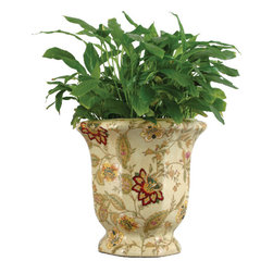 Oriental Danny - Porcelain Planter - Hand painted porcelain planter in octagonal shaped. Elegant design with soft crackle finish. Great for flower arrangements and plants.