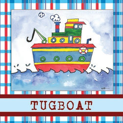 Oh How Cute Kids by Serena Bowman - Tugboat in Blue, Ready To Hang Canvas Kid's Wall Decor, 11 X 14 - Each kid is unique in his/her own way, so why shouldn't their wall decor be as well! With our extensive selection of canvas wall art for kids, from princesses to spaceships, from cowboys to traveling girls, we'll help you find that perfect piece for your special one.  Or you can fill the entire room with our imaginative art; every canvas is part of a coordinated series, an easy way to provide a complete and unified look for any room.