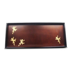 Belle & June - Gold Frog Cocktail Tray - You're in luck whatever you're serving on this handmade lacquered tray with its fanciful golden frogs — known for bringing luck and prosperity. Made for serving food, this tray is waterproof and heat resistant.