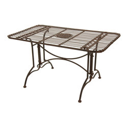 Oriental Furniture - Rustic Rectangular Garden Table - Rust Patina - This elegant wrought iron table features graceful curves, smooth lines, and a floral medallion centerpiece. Finished with a faux-rust patina for an authentic antique appearance, this table is a perfect place to gather friends and family together to enjoy a home-cooked meal or hold a picnic. Sturdy and durable, yet lightweight and easy to move, this table is the perfect choice for accentuating any style of home furnishing.