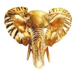 White Faux Taxidermy - White Faux Taxidermy - Mini Elephant Head - Fake Animal Mounts - Measurements:
