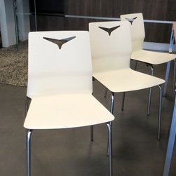 Com.p.ar. Furniture for Living Room - Stackable Kitchen Chairs in fireproof polyurethane, with chrome metal legs. Finish - Bicolor, Brown/Beige and/or Beige/Brown Made by Com.p.ar in Italy. In Stock - 4 Brown/Beige and 4 Beige/Brown