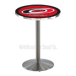 Holland Bar Stool - Holland Bar Stool L214 - Stainless Steel Carolina Hurricanes Pub Table - L214 - Stainless Steel Carolina Hurricanes Pub Table  belongs to NHL Collection by Holland Bar Stool Made for the ultimate sports fan, impress your buddies with this knockout from Holland Bar Stool. This L214 Carolina Hurricanes table with round base provides a commercial quality piece to for your Man Cave. You can't find a higher quality logo table on the market. The plating grade steel used to build the frame ensures it will withstand the abuse of the rowdiest of friends for years to come. The structure is 304 Stainless to ensure a rich, sleek, long lasting finish. If you're finishing your bar or game room, do it right with a table from Holland Bar Stool.  Pub Table (1)