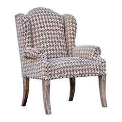 Matthew Williams - Matthew Williams Winesett Brown Armchair X-91632 - Plush Chenille In Camel And Ivory, With Rolled Arms And Wings Trimmed In Antiqued Brass Nails.  Hardwood, Mango Frame Is Hand Finished In Aged White.