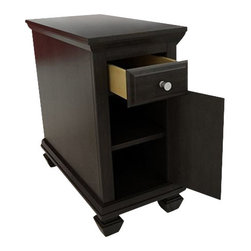 Ameriwood - Ameriwood Chair Side Table in Dark Russet Cherry - Ameriwood - End Tables - 3575303PCOM - This Chair Side Table is great for extra concealed storage provided behind door and inside drawer both drawer and door have profiled edges its Satin Nickel Knobs Dark Russet Cherry finish and decorative solid wood feet give this side table a decorative contemporary stylish look that will accomodate any decor.