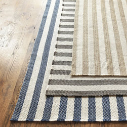 Ballard Designs - Vineyard Stripe Rug - Textured and tested, these rugs would add a gorgeous rustic touch to any space. To top it off, the tall stripes are sure to make a room feel larger.