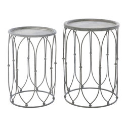 Kathy Kuo Home - Wishbone French Country Oval Weathered Zinc Accent Round Side Table - Set of 2 - The weathered zinc, delicate ironwork of this stylish side table creates an open, airy silhouette. Your wish for matching tables has been granted by this pair of oval romantic accent pieces. Perfect for small collections, bud vases and vintage photographs.