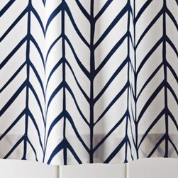 Serena & Lily - Navy Feather Shower Curtain - Our take on timeless herringbone and chevron patterns, printed lines are loosely rendered for that extra design element. Mix or match with our signature bath towels and have fun finding your own fresh combos of patterns and colors.