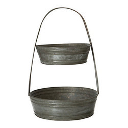Tiered Tin Basket - I like to think of the fruit basket on my countertop as a display piece as much as a storage item. This galvanized tin, two-tier storage tray is rustic yet modern and minimal.