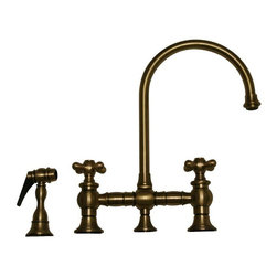 Whitehaus - Whitehaus Vintage III WHKBCR3-9101 Double Handle Kitchen Faucet with Side Spray - Shop for Kitchen from Hayneedle.com! Graceful curves and classic accents give the Whitehaus Vintage III WHKBCR3-9101 Double Handle Kitchen Faucet with Side Spray a head-turning look that you will adore. Its solid brass construction has the durability to combat bacteria and corrosion like a champ. Its spout arcs high and swivels to give unobstructed access to the basin for those large pots and pans. Washing down produce and dishes is a snap with the matching side sprayer always at the ready. You can trust in the ceramic disc cartridges to keep this faucet drip-free throughout its long life.Product Specifications:Mount Type: Deck MountHandle Style: LeverValve Type: Ceramic DiscFlow Rate (GPM): 2.2Swivel: 360 degreesSpout Height: 9.12-inchSpout Reach: 8.12-inchAbout WhiteHaus and Alfi Trade Inc. A place where beauty quality and service meet at last. Alfi Trade Inc. is a Los Angeles California company that recently merged with Whitehaus Collection in West Haven Connecticut to be their exclusive West Coast distribution center. Whitehaus Collection products transform the most essential rooms in the home: the kitchen and bath into reflections of the homeowners' personal style. For over 10 years Whitehaus Collection has been providing people with high-end decorative plumbing fixtures that are beautiful and stand the test of time.