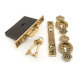 Oriental Pocket Door Mortise Lock - Privacy - Blackened Brass - This pocket door mortise lock is constructed of forged brass and features a beautiful and unique leaf design. A convenient push button allows for easy access to the finger grip, allowing the user to pull the door out of its cavity.