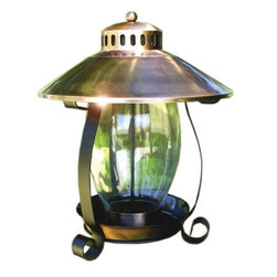 Woodlink - Copper Lantern Feeder - Coppertop Lantern Seed Feeder. Unique and graceful feeder that looks beautiful in any setting and attracts more birds! Glass seed holder 4.75 lb seed capacity.